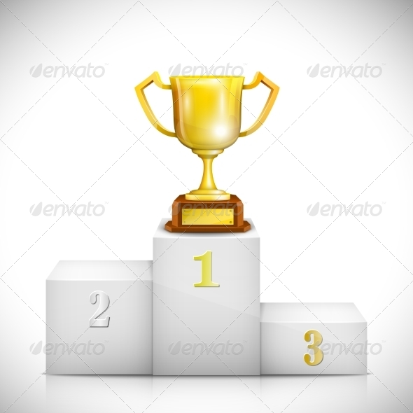 GraphicRiver Winner Pedestal with Gold Trophy Cup 7142628