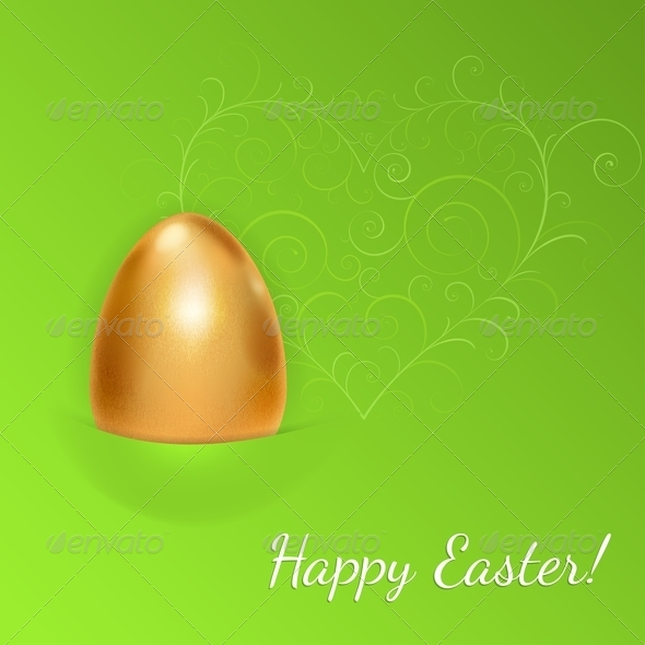 GraphicRiver Easter Background with Golden Egg 7129717