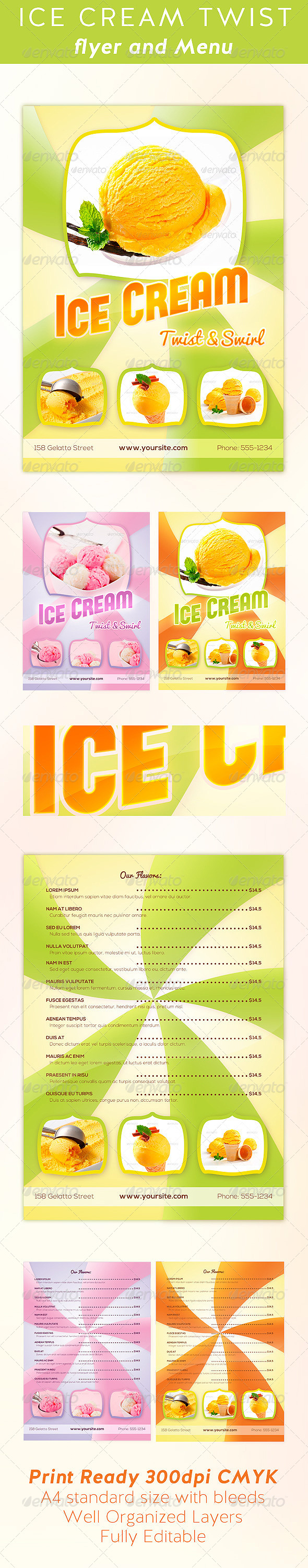 GraphicRiver Ice Cream Twist Flyer and Menu Template 7027561