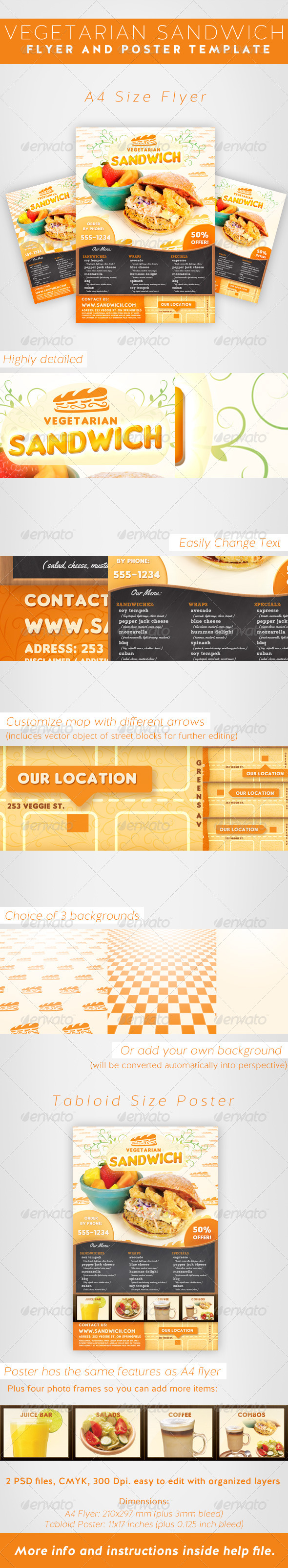 GraphicRiver Vegetarian Sandwich Flyer Template 7029681