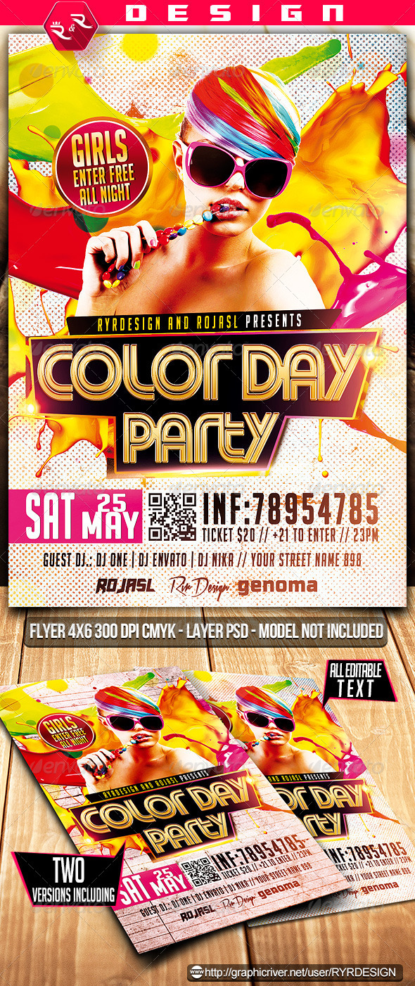 GraphicRiver Color Day Party Flyer 7143417