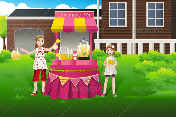 GraphicRiver Kids Selling Lemonade 7143511