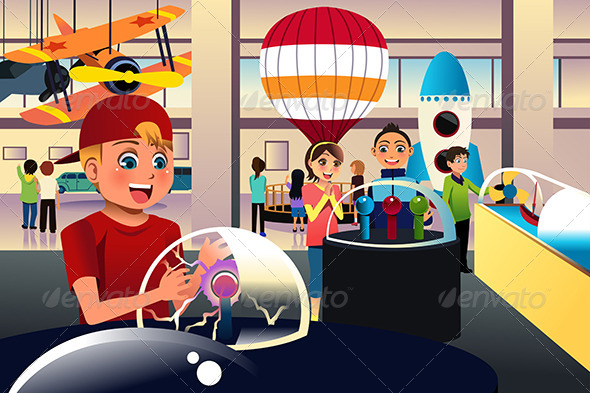 GraphicRiver Kids on a Trip to a Science Center 7143527