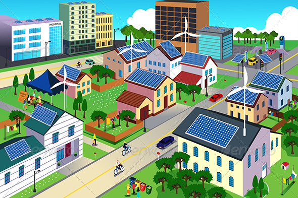 GraphicRiver Green Environment Friendly City Scene 7143546