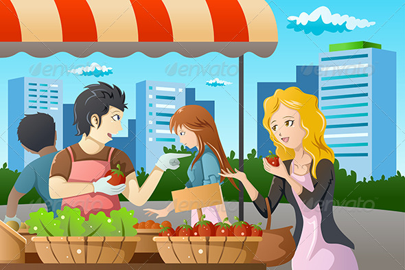 GraphicRiver People Shopping in Farmers Market 7143599