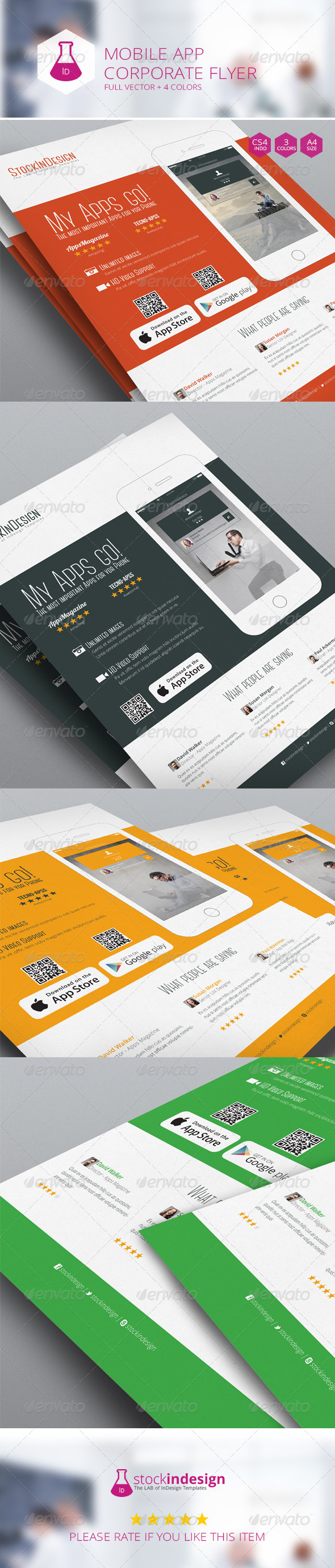 Mobile App Flyer Flat Design
