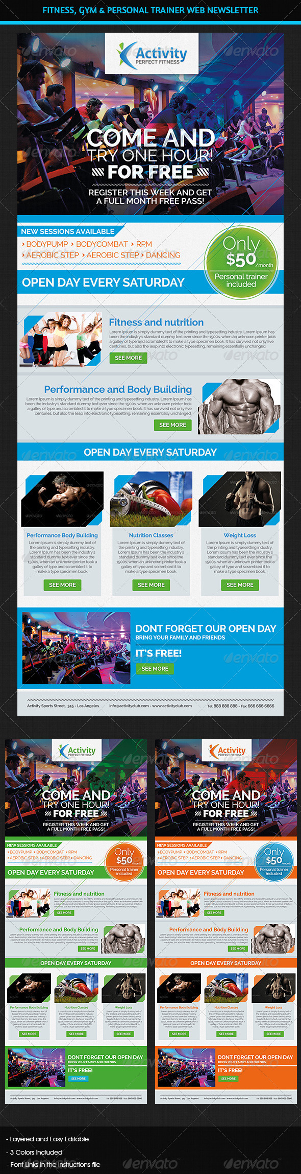 GraphicRiver Fitness Gym & Personal Trainer Web Newsletter 7143821