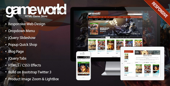 ThemeForest Responsive HTML Theme GameWorld 7144067