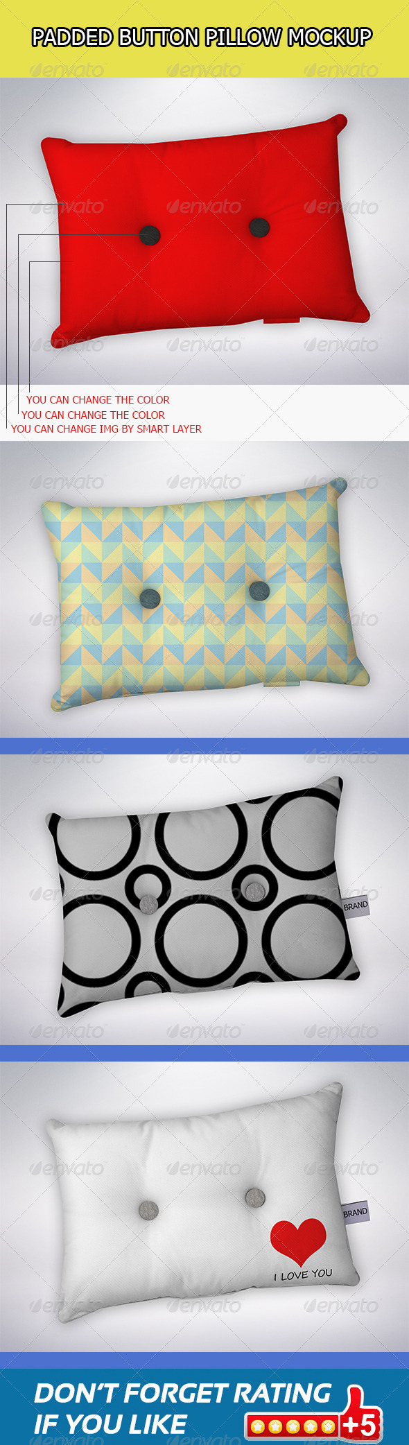 Padded Button Pillow Mock-Ups