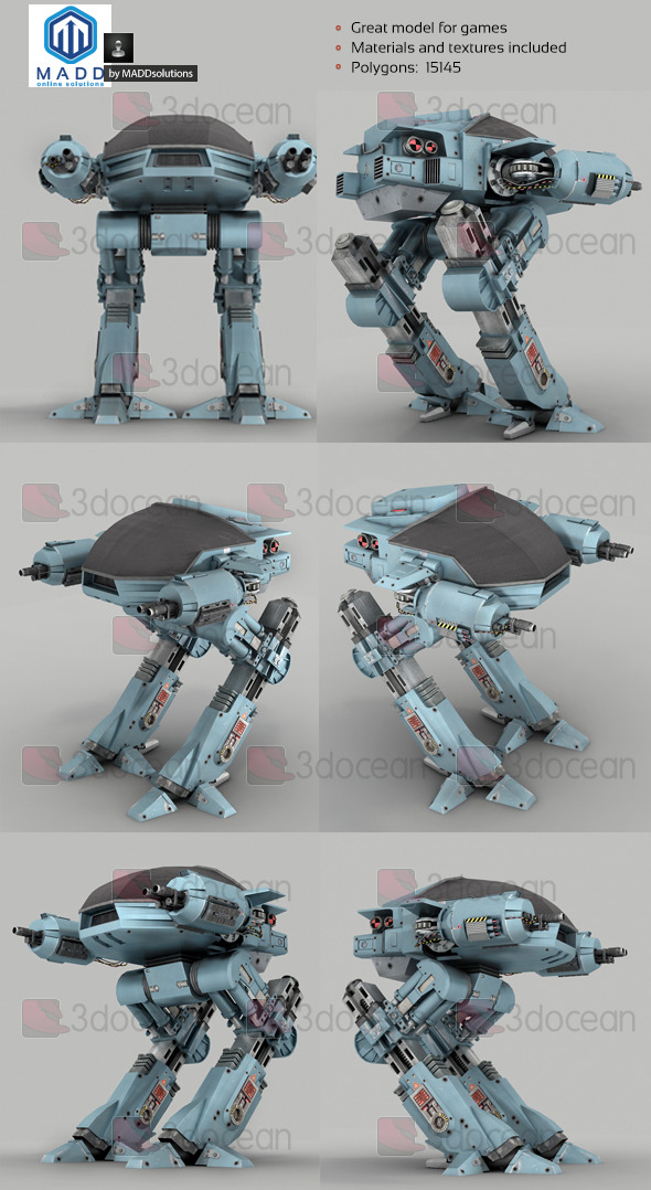 Robot ED-209 - 15145 polys - 3DOcean Item for Sale