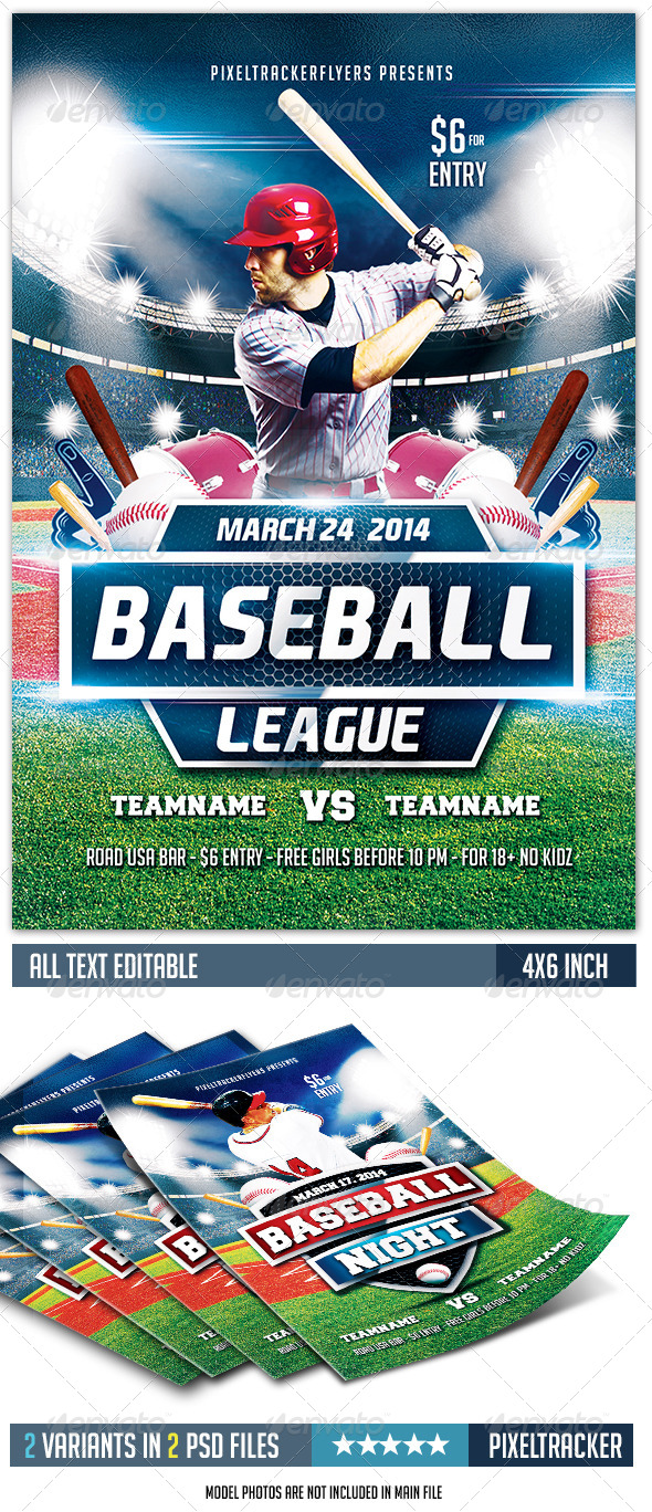 GraphicRiver Baseball League Flyer Template 2 Variations 7144320