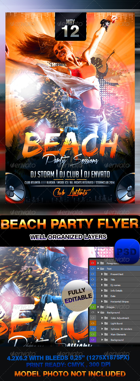GraphicRiver Beach Party Flyer 7145032