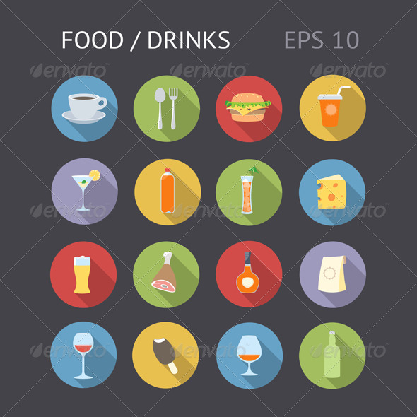 GraphicRiver Flat Icons For Food and Drinks 7145037