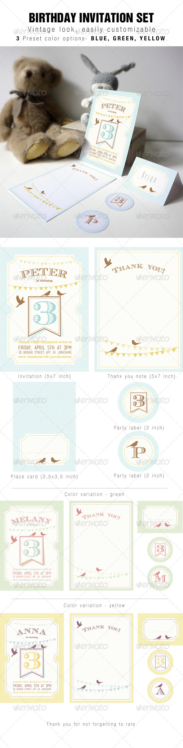 GraphicRiver Kids Birthday Invitation Party Set 7129412