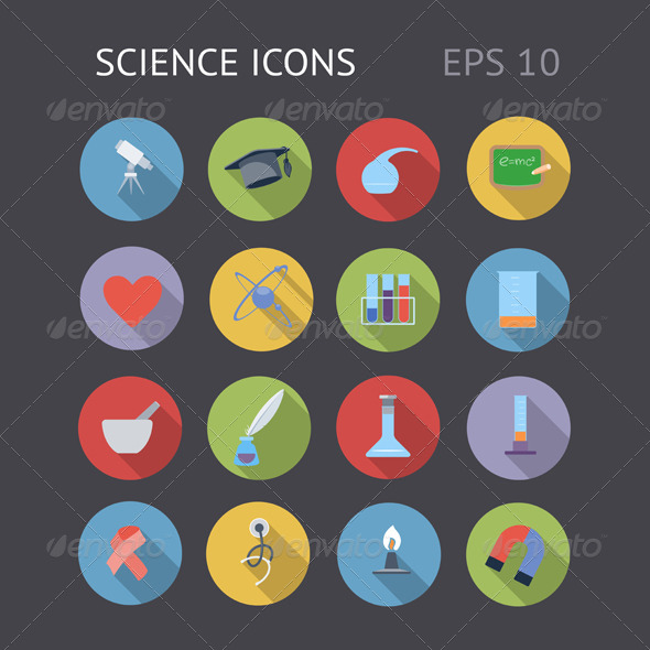 GraphicRiver Flat Icons For Science 7145047