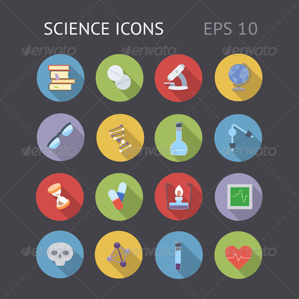 GraphicRiver Flat Icons For Science 7145050