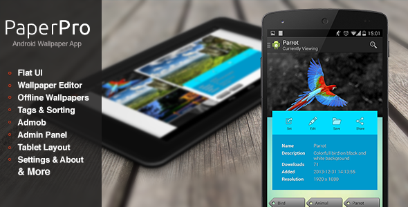 CodeCanyon PaperPro Rich Android Wallpaper App Template 7127230