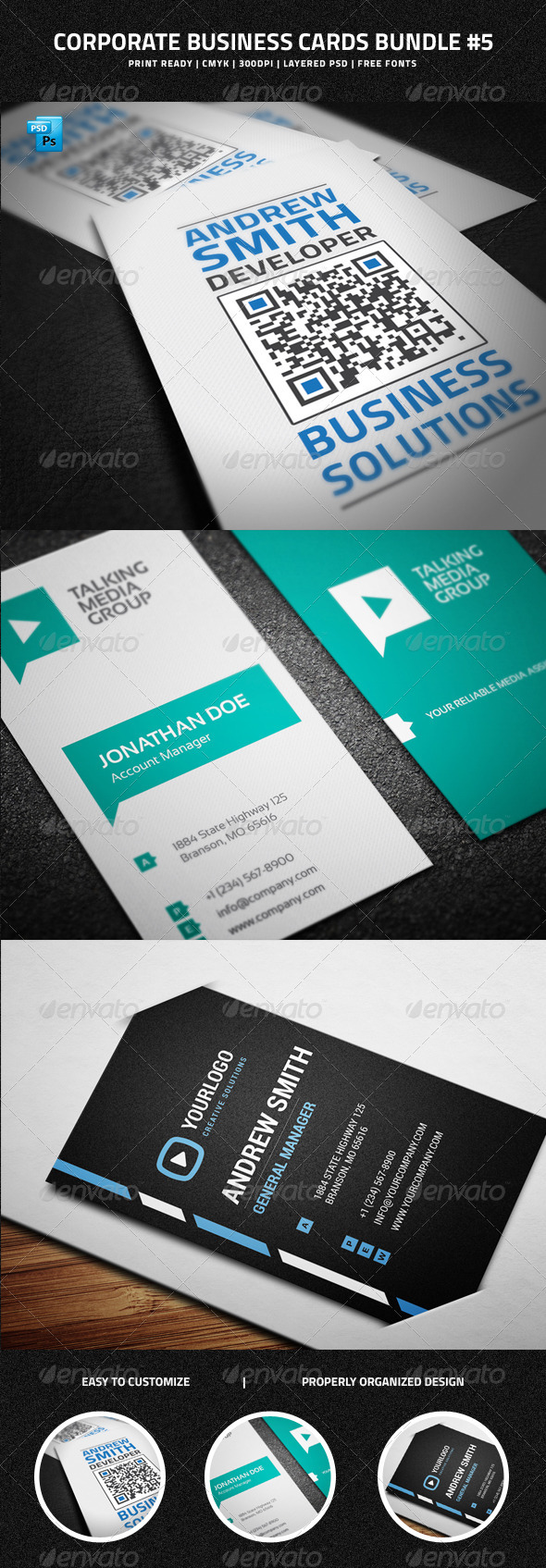 GraphicRiver Corporate Business Cards Bundle #5 7145349