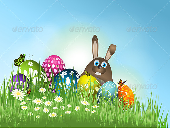GraphicRiver Easter Bunny Background 7147504
