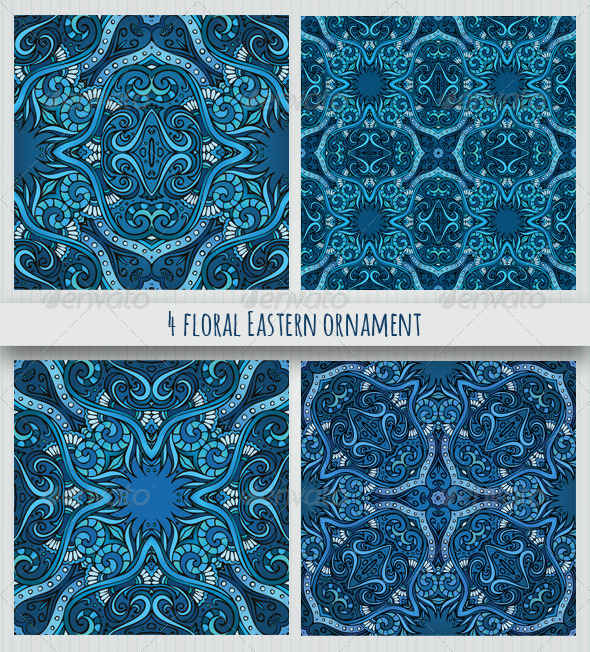 GraphicRiver 4 Floral Eastern Style Ornaments 7147576