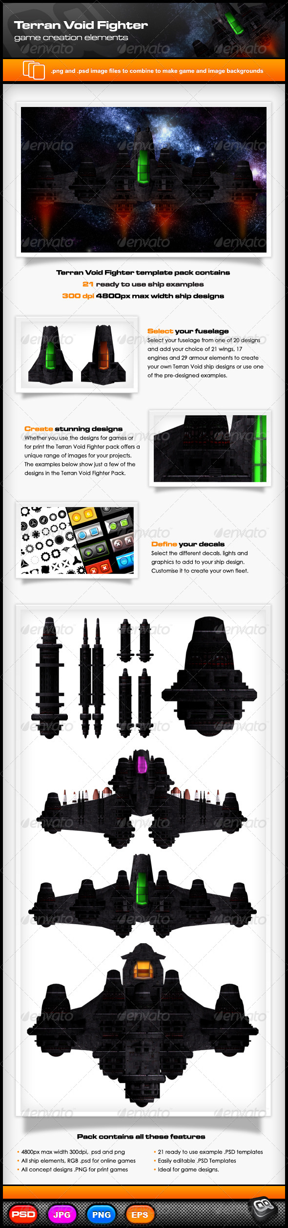 GraphicRiver Terran Void Fighter Template Pack 7132106