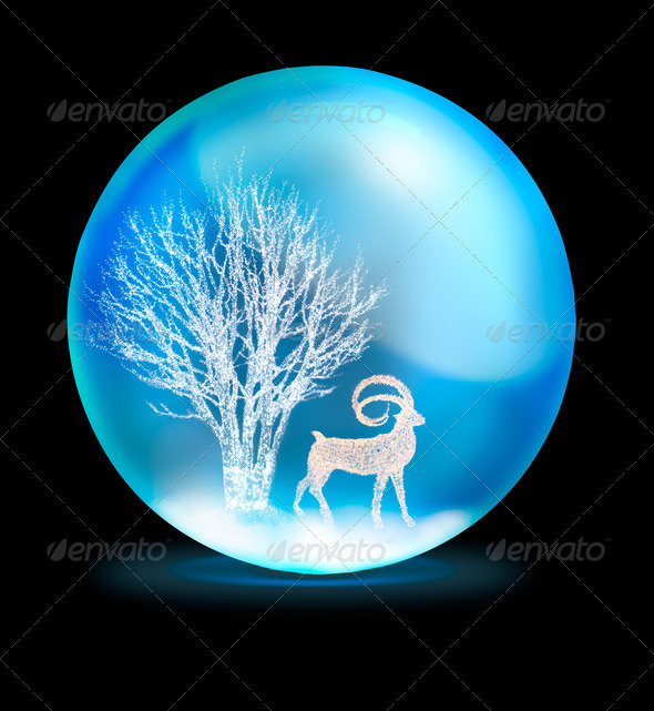 lighting tree and deer in crystal ball on black background - Stock Photo - Images