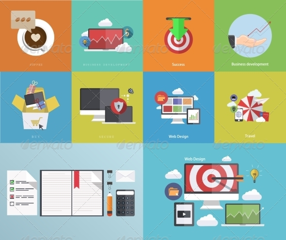GraphicRiver Flat Modern Icons on Sample Background 7150156
