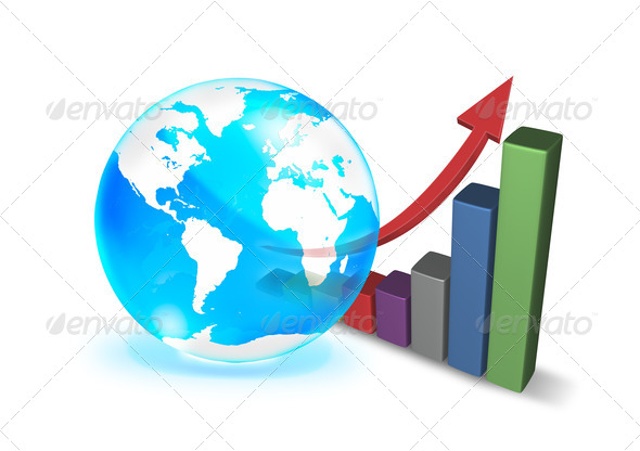 blue crystal ball and 3d growth graph on white background - Stock Photo - Images