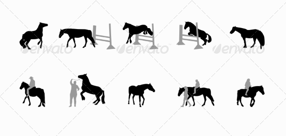 GraphicRiver Horse with a Rider Runs Hops and Gallops 7150442