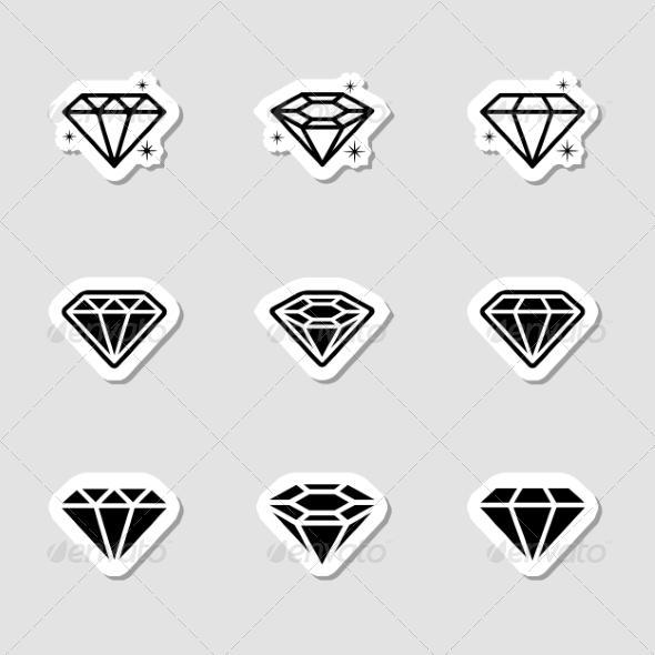 GraphicRiver Diamond Icons Set as Labes 7151790
