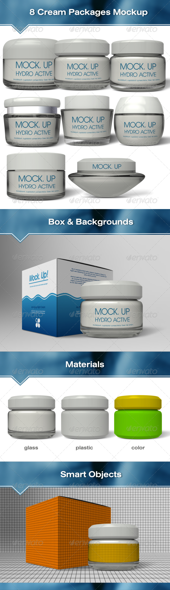 GraphicRiver 8 Glass & Plastic Cream Packages Mockup 7152835
