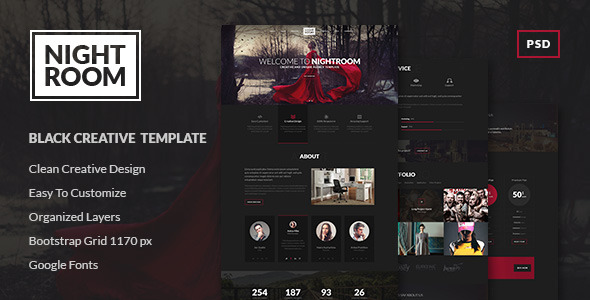 Night Room - Dark Creative PSD Template