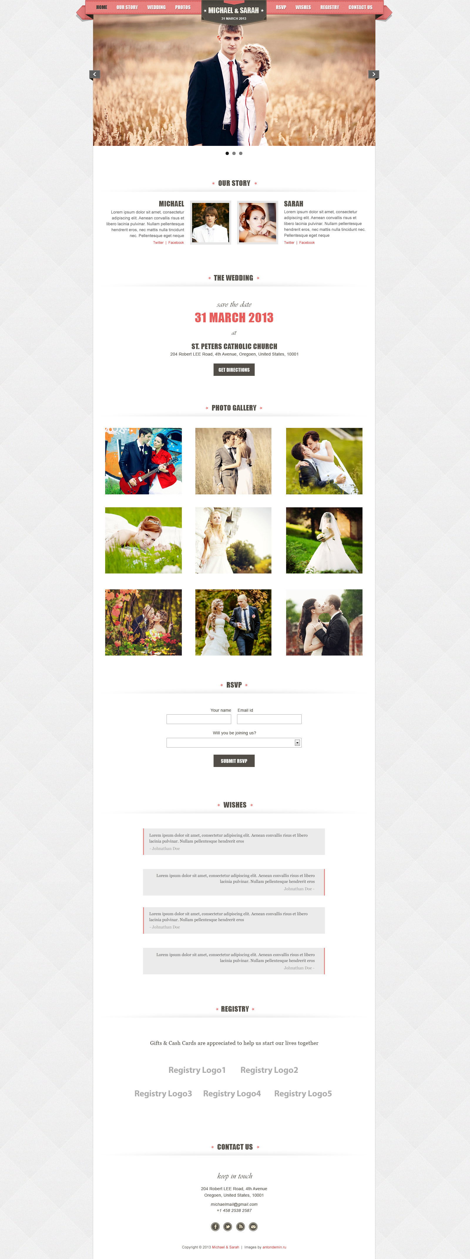 Kalyan One Page Responsive Wedding Template