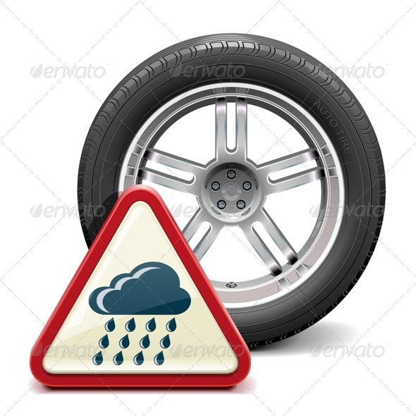 GraphicRiver Rain Tire with Sign 7155971