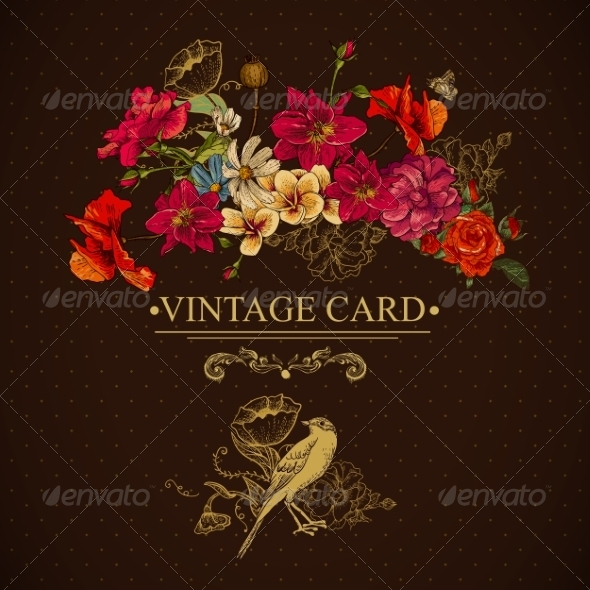 Vintage Floral Card with Birds and Butterflies