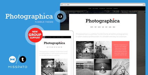 Photographica - Portfolio Tumblr Theme