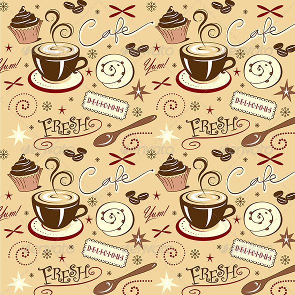 Repeat Pattern Hot Fresh Coffee Shop Sweets