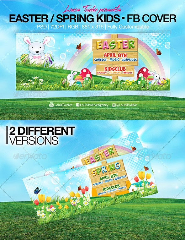 GraphicRiver Easter Kids Spring Facebook Covers 7156643