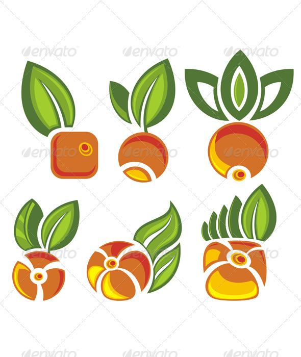 GraphicRiver Fruits Labels with Green Leaves 7157043