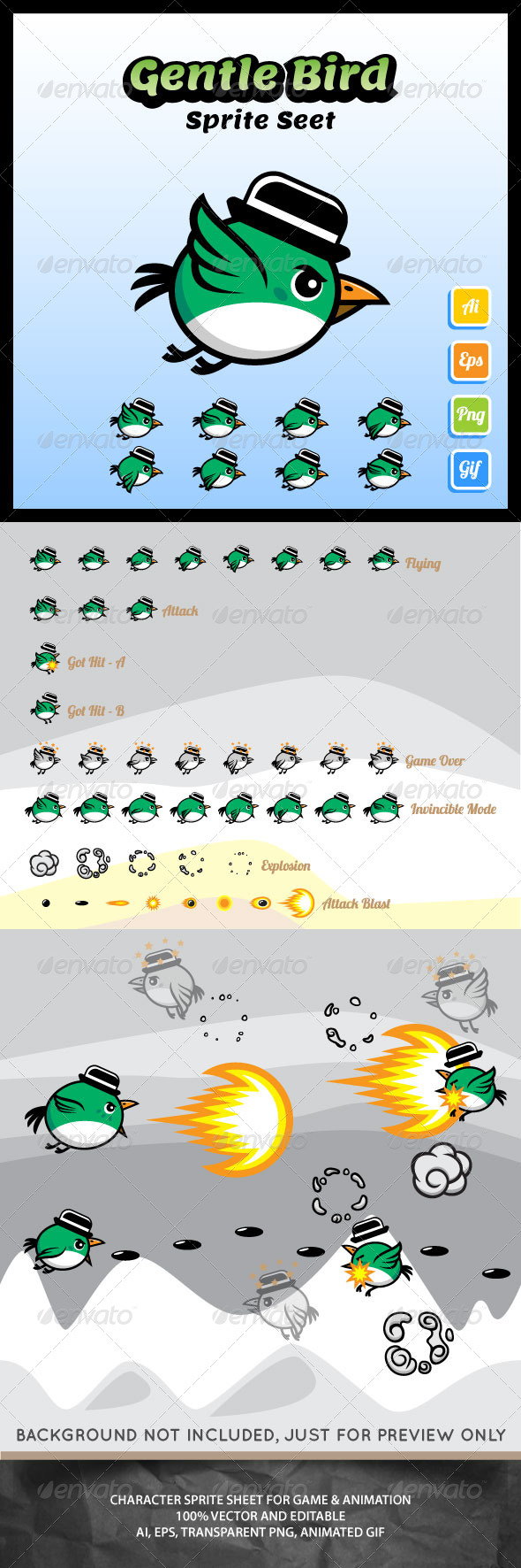 GraphicRiver Gentle Bird Sprite Sheet 7157667