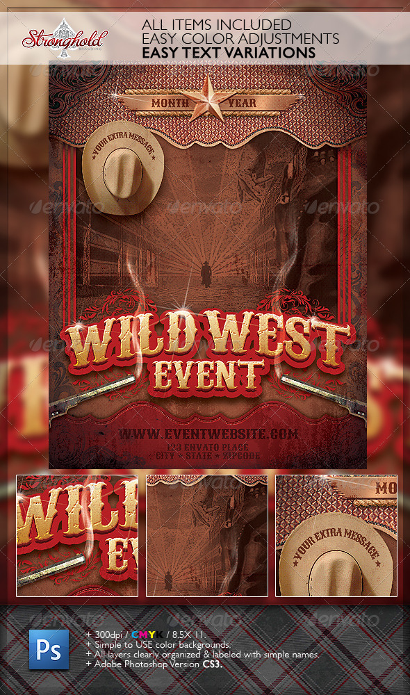 Wild West Gunslinger Flyer Poster Template - Events Flyers
