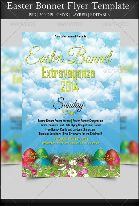 easter bonnets templates - easter bonnet flyer graphicriver