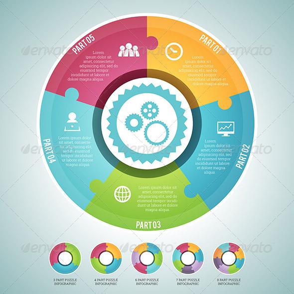 GraphicRiver Circle Puzzle Infographic Elements Set 7157899
