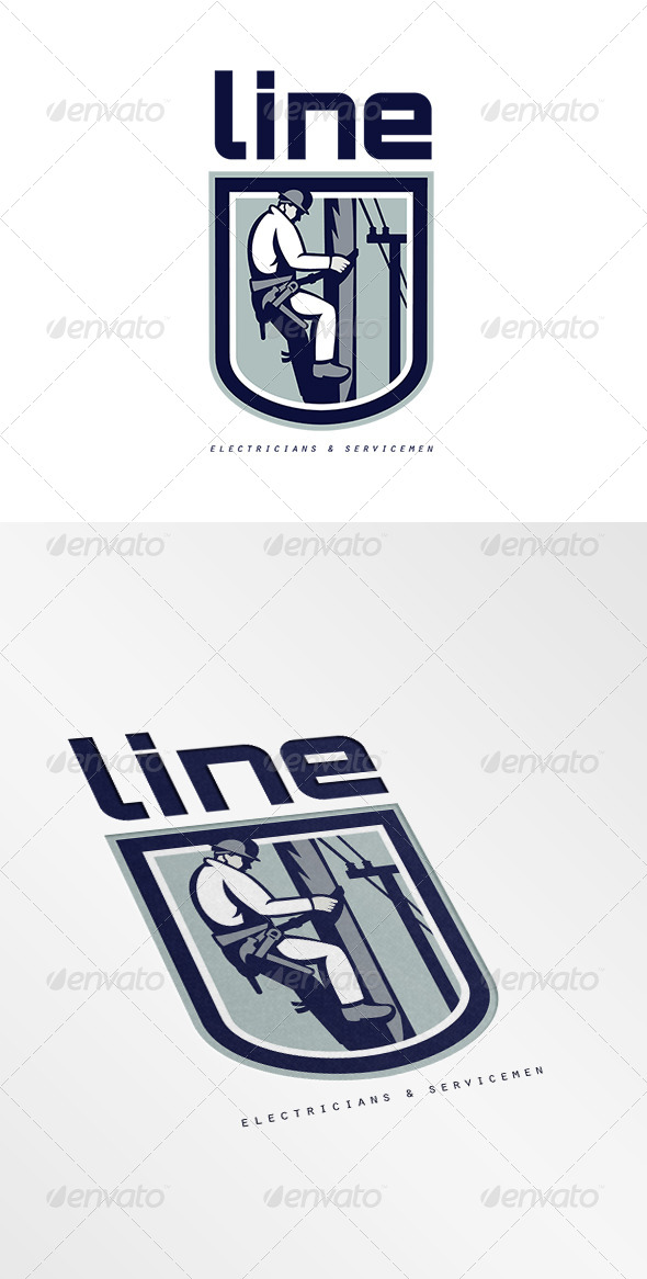 GraphicRiver Line Electricians and Servicemen Logo 7157991