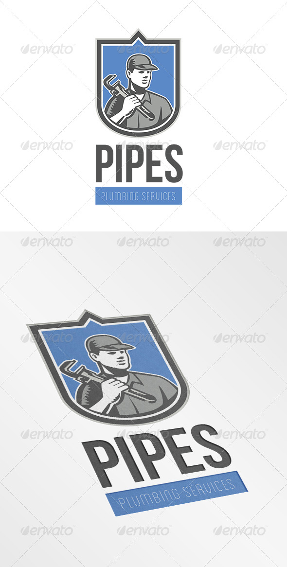 GraphicRiver Pipes Plumbing Services Logo 7158106