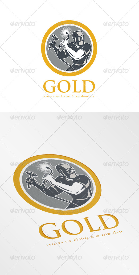 GraphicRiver Gold Veteran Machinist and Metalworkers Logo 7158176