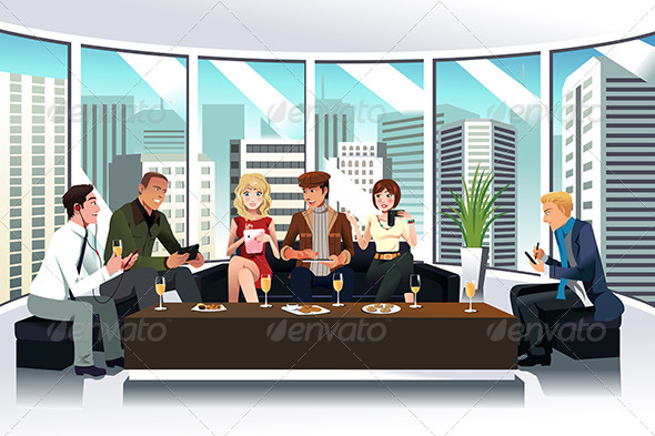 GraphicRiver People in a Lounge Using Electronic Gadgets 7158321