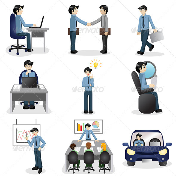 GraphicRiver Small Business People Icons in Different Situations 7158352