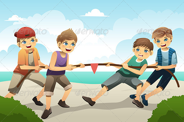 GraphicRiver Kids in Tug of War 7158371