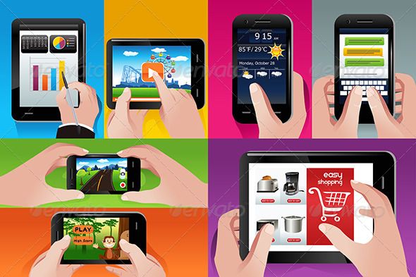GraphicRiver People Using Tablet and Cell Phones 7158378